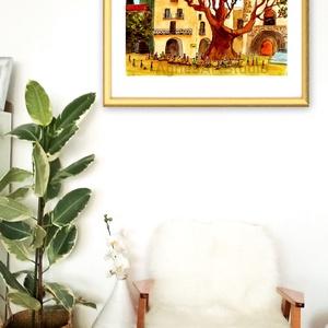 Saint-Guilhem-Le-Désert - aquarell festmény - nyomat, Otthon & lakás, Dekoráció, Képzőművészet, Festmény, Akvarell, Festészet, Fotó, grafika, rajz, illusztráció, A művészi nyomat 180-200g-os művész papírra készül.\nA festmény eredetije kézzel készített, handmade ..., Meska