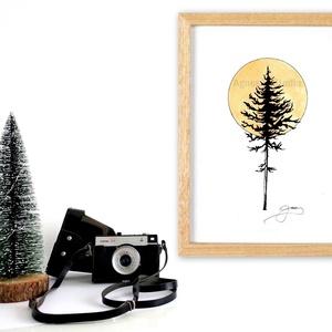 Telihold - InkArt illusztráció - egyedi tervezés, Otthon & lakás, Dekoráció, Képzőművészet, Illusztráció, Grafika, Fotó, grafika, rajz, illusztráció, Festészet, A művészi nyomat 180-200g-os művész papírra készül.\nAz InkArt monokróm illusztráció kézzel készített..., Meska