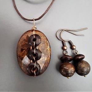 Bronzit-fa szett, pulcsimedál, drótékszer, nyaklánc, ásvány, ékszer, ajándék, nőknek, lánynak, karácsony, Meska - Meska.hu