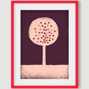 gyerekszoba, babaszoba dekoráció - Almafa rózsaszín, lila, piros illusztráció, A4 kép (agnescor) - Meska.hu