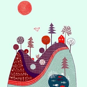 Babaszoba, gyerekszoba dekoráció, lila, piros, bordó domb, A4 illusztráció gyerekeknek (agnescor) - Meska.hu