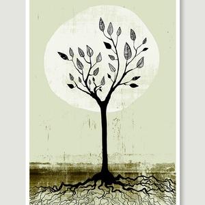 Fekete-zöld fa dekoráció, fali kép, illusztráció (agnescor) - Meska.hu