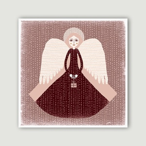 Karácsonyi angyal illusztráció rózsaszín-fehér-bordó 30x30 cm - angyal sorozat 2 (agnescor) - Meska.hu