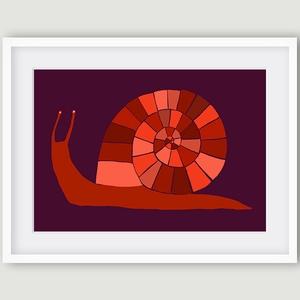 Gyerekszoba, babaszoba dekoráció, fali kép - Csiga narancssárga-lila A4 illusztráció (agnescor) - Meska.hu