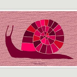 Babaszoba, gyerekszoba dekoráció, fali kép - Csiga rózsaszín bordó piros A4 illusztráció (agnescor) - Meska.hu