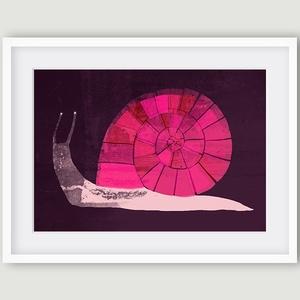 Gyerekszoba, babaszoba dekoráció, fali kép - Csiga pink, rózsaszín, bordó A4 illusztráció (agnescor) - Meska.hu