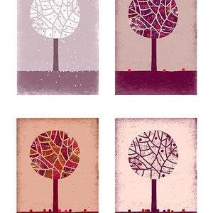 Babaszoba, gyerekszoba dekoráció, fali kép, évszak sorozat - négy almafa - A4 illusztráció (agnescor) - Meska.hu
