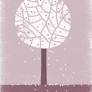 Babaszoba, gyerekszoba dekoráció, fali kép - Évszak sorozat - tavaszi fa, lila, fehér - A4 illusztráció (agnescor) - Meska.hu