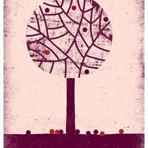 Babaszoba, gyerekszoba dekoráció, fali kép, téli fa - A4 illusztráció (agnescor) - Meska.hu