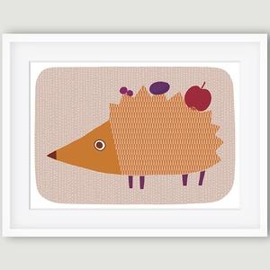 Egon, a sün - babaszoba, gyerekszoba dekoráció állatos falikép kép - sün - A4 illusztráció, Gyerek & játék, Gyerekszoba, Dekoráció, Otthon & lakás, Kép, Fotó, grafika, rajz, illusztráció, A sünit ábrázoló fali kép ideális dekoráció gyerek -és babaszoba falra, óvodákba. A saját rajzból ké..., Meska