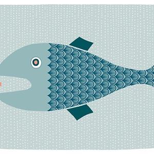 Babaszoba, gyerekszoba dekoráció állatos falikép kép - hal - A4 illusztráció (agnescor) - Meska.hu