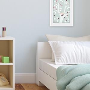 Babaszoba dekoráció, fali kép, fehér fa kék háttéren madárral- A4 illusztráció (agnescor) - Meska.hu