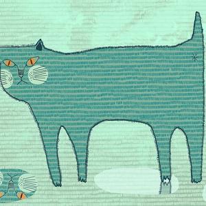 Gyerekszoba dekoráció, fali kép, zöldeskék macska esőben, zöld háttéren A4 illusztráció (agnescor) - Meska.hu