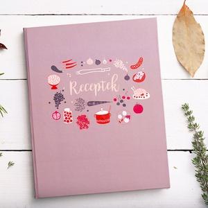 Receptkönyv - kemény borító lila, piros, rózsaszín, saját illusztrációkkal, Otthon & lakás, Konyhafelszerelés, Receptfüzet, Fotó, grafika, rajz, illusztráció, Könyvkötés, Konyhai receptkönyv, receptes füzet, a borítón és előzéken saját illusztrációimmal. Kemény fedeles, ..., Meska