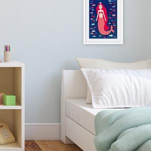Gyerekszoba dekoráció, babaszoba dekoráció fali kép - hableány, sellő, mesebeli figura illusztráció (agnescor) - Meska.hu