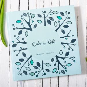 Elegáns, egyedi esküvői, eljegyzési emlékkönyv, vendégkönyv, napló kék-fehér színekben (agnescor) - Meska.hu