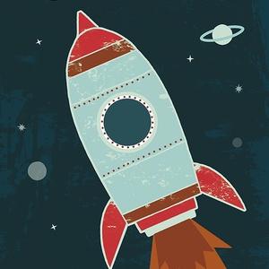 Rakéta, űrhajó az űrben Holddal, bolygókkal - gyerekszoba dekoráció, falikép (agnescor) - Meska.hu