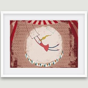 Gyerekszoba dekoráció, fali kép- cirkuszi kép porond, artistalánnyal (agnescor) - Meska.hu