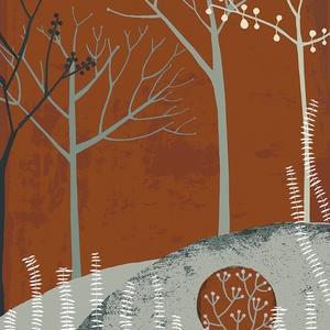 Erdő holddal - kék, okker illusztráció, domb, erdő, fa, fali kép, rajz, szobadekoráció (agnescor) - Meska.hu