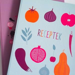 Receptkönyv - kemény borító színes, zöldség, gyümölcs minta, saját illusztrációkkal, Otthon & lakás, Konyhafelszerelés, Receptfüzet, Fotó, grafika, rajz, illusztráció, Könyvkötés, Konyhai receptkönyv, receptes füzet, a borítón és előzéken saját illusztrációimmal. Kemény fedeles, ..., Meska
