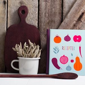 Receptkönyv KIFUTÓ AKCIÓ - kemény borító színes, zöldség, gyümölcs minta, saját illusztrációkkal (agnescor) - Meska.hu