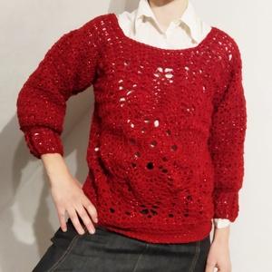 Ünnepi pulóver, Ruha & Divat, Női ruha, Pulóver & Kardigán, Piros színű, meleg ünnepi  pulóver, 98%premium akril és 2% sim tartalmú fonalból.  Mérete 38-40. Hos..., Meska
