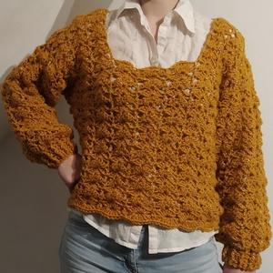Meleg csillogós pulóver, Ruha & Divat, Női ruha, Pulóver & Kardigán, Sárga pulóver csillogó fonalból 98%premium akril és 2%sim. Mérete: 38-40 Hossza: 118cm, szélessége: ..., Meska
