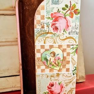 Vintage nagy zsebkendőtartó, Otthon & Lakás, Lakberendezés, Decoupage, transzfer és szalvétatechnika, Festett tárgyak, Ezt a szépséges zsebkendőtartót azoknak ajánlom, akik szeretik a virágokat és romantikus lelkületűek..., Meska