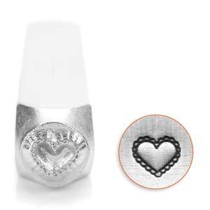 LACE HEART 6MM STAMP  - gyöngy, ékszerkellék - egyéb alkatrész - Meska.hu