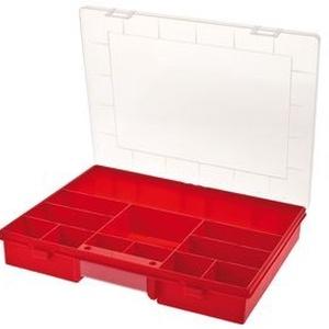 Szortiment rendező, Csomagolóanyag, Ékszerkészítés, Szerszámok, Rendező doboz 12  fix rekesszel.\nMéret: 370*230*55mm\npiros szinben, Meska