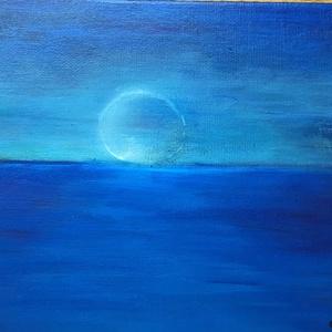 Hold az óceán felett  - kortárs absztrakt festmény közvetlenül a művésztől, Művészet, Festmény, Akril, Festészet, Horváth Ágota: Hold az óceán felett című képét kínálom eladásra.\nA kép akril festékkel, vászonkarton..., Meska