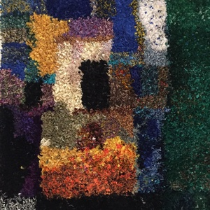 Egyedi művész szőnyeg, textilcsíkokból: Inspiráció, Művészet, Textil, Inspiráció című festményem alapján készítettem ezt a garantáltan egyedi nagyméretű szőnyeget maradék..., Meska