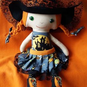 Vörös hajú Boszi textilbaba , Játék & Gyerek, Baba, Baba & babaház, Ez a narancs-vörös hajú kis boszorkány ideális játszótárs vagy dekoráció lehet kicsiknek és nagyokna..., Meska