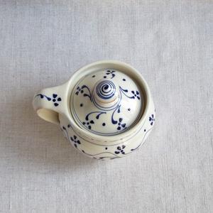 Kék virágos cukortartó (agyagos) - Meska.hu