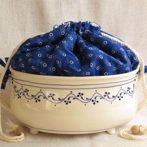 Mázas kenyértartó kék-fehér színben - Meska.hu