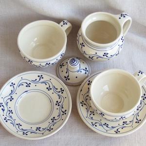 Kék virágos csészék, kistányérokkal, cukortartóval - Meska.hu