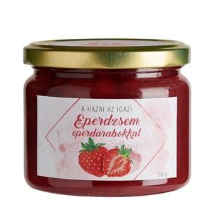 Eperdzsem eperdarabokkal, Élelmiszer, Lekvár, Élelmiszer előállítás, A hazai, érett, nagyon piros epernél nincs finomabb, így arra gondoltunk, hogy készítünk egy olyan v..., Meska