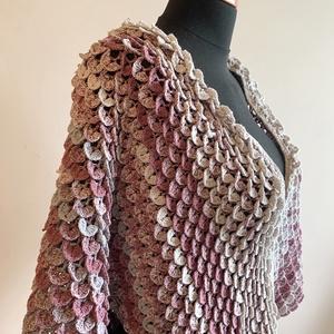"""""""Dragon"""", Ruha & Divat, Mellény, Női ruha, Különlegesen szép, nagy méretű, egyedi stílusú, pikkelyes mintázatú, színátmenetes 100% pamutfonalbó..., Meska"""