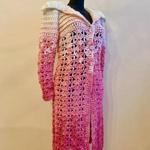 """""""Flamingo"""", Ruha & Divat, Női ruha, Kabát, Vastag, színátmenetes gyapjú fonalból horgolt kifejezetten hosszú női kardigán, amely akár egy kiska..., Meska"""