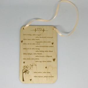 Szerelmes táblácska, Otthon & lakás, Dekoráció, Dísz, Gravírozás, pirográfia, Táblácska 13x20 cm-es, akár saját üzenettel is kérhető. Fa, lézergravírozott és vágott termék. ..., Meska