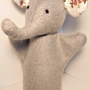 kesztyűbáb elefánt gyerekkézre, Kesztyűbáb, Bábok, Játék & Gyerek, Varrás, 20 cm-espolár anyagból készült elefánt gyerekkézre, Meska
