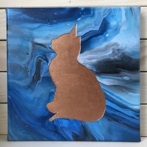 Az angyal - Fluid akril festmény, Művészet, Festmény, Akril, Festészet, Imádom a cicákat, így nem volt kérdés, hogy az első ilyen típusú alkotásom középpontjában ő áll majd..., Meska