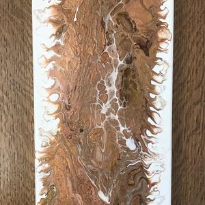A föld szíve - Fluid akril festmény, Képzőművészet, Otthon & lakás, Festmény, Akril, Festészet, Ez a földszíneket felvonultató absztakt alkotás 20x50 cm-es feszített vaszonkeretre készült. Tónusa ..., Meska