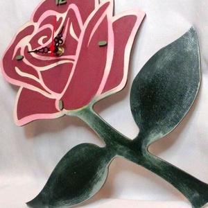 Rózsa formájú falióra, Falióra & óra, Dekoráció, Otthon & Lakás, Festészet, Fa alapanyagra készült, rózsaszál formájú falióra, néma szerkezettel. Kézzel, akrillal festett, egye..., Meska