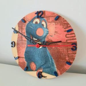 Lecsó-Remy falióra, Falióra & óra, Dekoráció, Otthon & Lakás, Festészet, Decoupage, transzfer és szalvétatechnika, Fa alapanyagra készült Remy-s óra, néma óraszerkezettel. Gyönyörű dísze a gyermek szobájának a kis k..., Meska