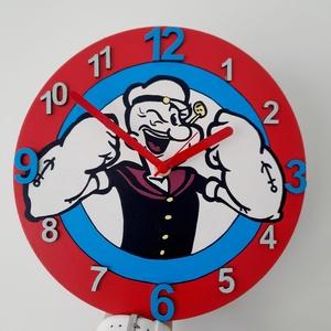 Popeye falióra, Otthon & Lakás, Dekoráció, Falióra & óra, Festészet, Fa alapanyagra készült falióra, néma óraszerkezettel, Popeye jelképpel.\nAkril festékkel festett, fed..., Meska