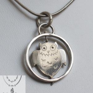 Pörgő bagoly medál 925-ös ezüstből, Ékszer, Medálos nyaklánc, Nyaklánc, Fémmegmunkálás, Ékszerkészítés, Meska