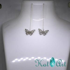 Hosszú pillangó 925 ezüst fülbevaló - ékszer - fülbevaló - lógó fülbevaló - Meska.hu