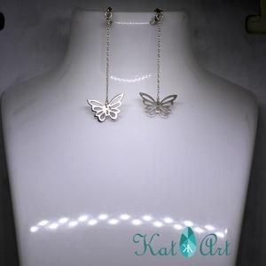 Pillangós 925 ezüst fülbevaló patentzárral - ékszer - fülbevaló - lógó fülbevaló - Meska.hu