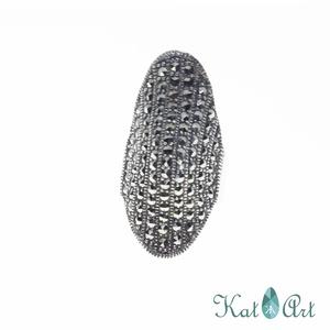Ezüst gyűrű, Ékszer, Gyűrű, Ékszerkészítés, Ötvös, Markazitokkal.\nMérete 54-es., Meska